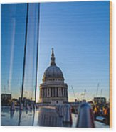 Reflecting St Pauls Wood Print by Andrew Lalchan