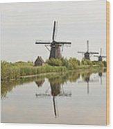 Reflecting Windmills Wood Print