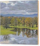 Reflection At Columbia River Gorge Wood Print