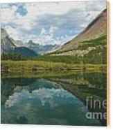 Reflection At Glacier National Park Wood Print