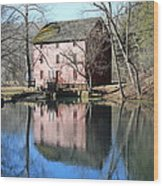 Reflection At The Mill Wood Print