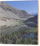 Reflection In Borith Lake Wood Print