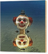 Reflection Of A Clown Wood Print