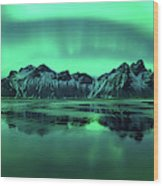 Reflection Of Aurora Borealis Wood Print