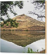 Reflection Of Butte Across From Lepage Rv Park Into Columbia River-oregon Wood Print