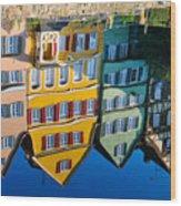 Reflection Of Colorful Houses In Neckar River Tuebingen Germany Wood Print