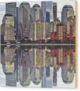 Reflection Of Downtown Nyc Wood Print