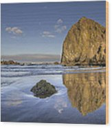 Reflection Of Haystack Rock At Cannon Beach 3 Wood Print