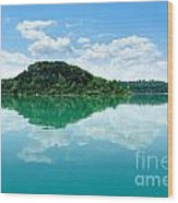 Reflection Of Isola Maggiore And Minore And Summer Sky  In Still Wood Print