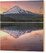 Reflection Of Mount Hood On Trillium Lake At Sunset Wood Print