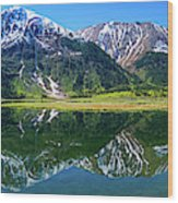 Reflection Of Mountains In Tern Lake Wood Print
