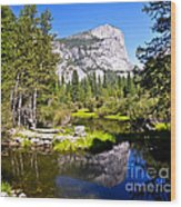 Reflection Of Mt Watkins In Mirror Lake Located In Yosemite National Park Wood Print