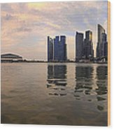 Reflection Of Singapore Skyline Panorama Wood Print