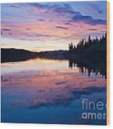 Reflection Of Sunset Sky On Calm Surface Of Pond Wood Print