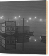 Reflection On Misty Thames  Wood Print