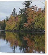 Reflection On The Raquette River Wood Print