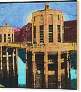 Reflections At Hoover Dam Wood Print
