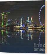 Reflections At Marina Bay Wood Print
