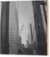 Reflections At The 9/11 Museum In Black And White Wood Print