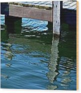 Reflections At The Marina Wood Print