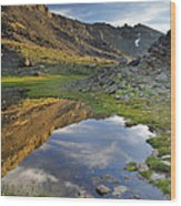 Reflections At The Mountain Lake Wood Print