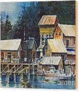 Reflections At Waters Edge Wood Print