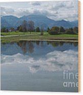 Reflections - Flooded Field - Austria Wood Print