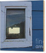 Reflections In A Shed Window - Curiosity - Fishing Wood Print