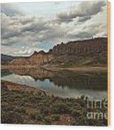 Reflections In Blue Mesa Wood Print
