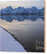 Reflections In Jackson Lake Wood Print