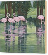 Reflections In Pink Wood Print