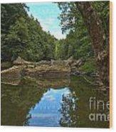 Reflections In Slippery Rock Creek Wood Print