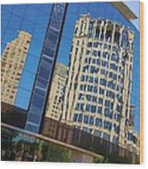 Reflections In The Rolex Bldg. Wood Print