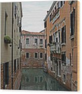 Reflections In Venetian Canal Wood Print