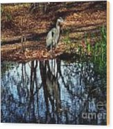 Reflections Of A Heron Wood Print