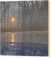 Reflections Of A Lamp On The Edge Of A Foggy Forest Wood Print