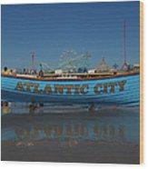 Reflections Of Atlantic City Wood Print