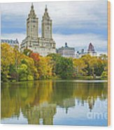 Reflections Of Autumn Central Park Lake  Wood Print
