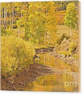 Reflections Of Gold Wood Print