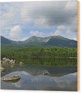 Reflections Of Katahdin At Sandy Stream Pond Wood Print