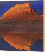 Reflections Of Miner Butte Wood Print