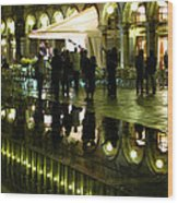 Reflections Of Saint Mark's Square-night Wood Print