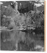Reflections Of Sedona Black And White Wood Print