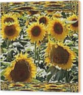 Reflections Of Sunflowers Wood Print
