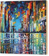 Reflections Of The Blue Rain - Palette Knife Oil Painting On Canvas By Leonid Afremov Wood Print