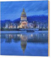 Reflections Of The West Virgina Capitol Building Wood Print