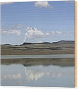 Reflections On Lake Abert Wood Print