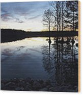 Reflections On Lake At Sunset Wood Print