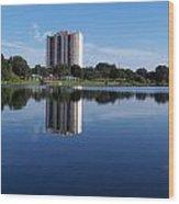 Reflections On Lake Silver Wood Print