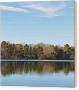 Reflections On Long Pond Wood Print